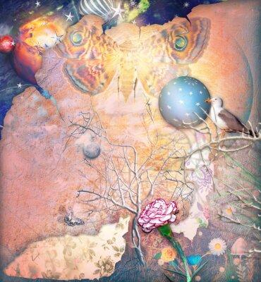 Canvastavlor Enchanted landskap med bewitched träd, nejlika och Butterflye
