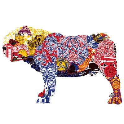 Canvastavlor Engelsk bulldogg i miniatyrer och mönster som symboliserar England
