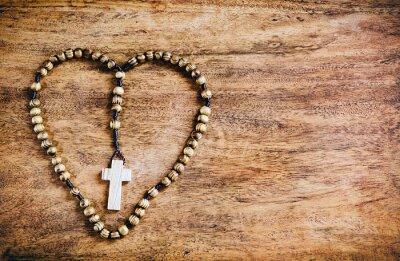 Canvastavlor Enkel Cross Inside hjärtformade - Rustic