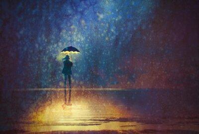 Canvastavlor ensam kvinna under paraply ljus i mörkret, digital målning