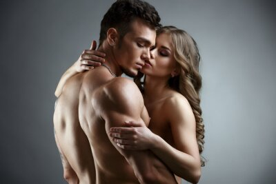 Canvastavlor Erotik. Embrace av attraktiva naken par