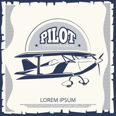Canvastavlor Etikett design - vintage affisch flygplan