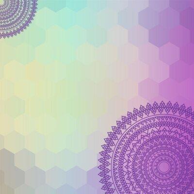 Canvastavlor Etniska och färgrika Henna Mandala design, mycket genomarbetade och lätt redigerbar