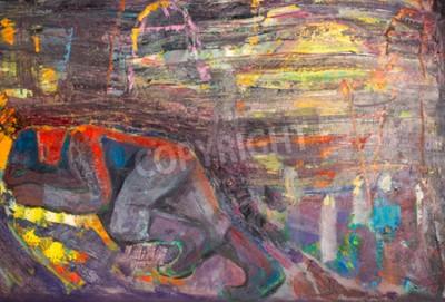 Canvastavlor Etnografi, M.Sh. Khaziev. Ärade konstnär Tatarstan. Den bild som målas i oljor. sovande människa