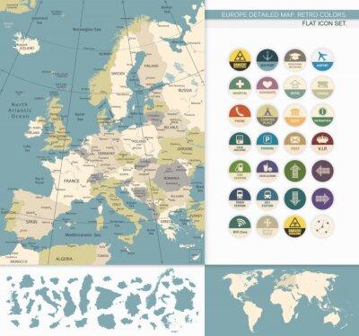 Canvastavlor Europa detaljerad map.Retro Färger