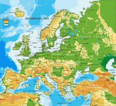 Canvastavlor Europa - fysisk karta
