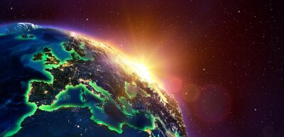 Canvastavlor Europa Golden Sunrise - View From Space