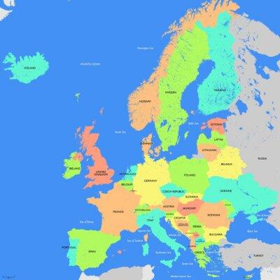 Canvastavlor Europa karta detaljerade