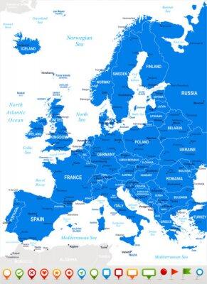 Canvastavlor Europa - karta och navigering icons.Highly detaljerad vektor illustration.Image innehåller nästa skikt: landkonturer, land och landnamn, stadsnamn, vatten objektnamn, navigering ikoner.
