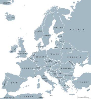 Canvastavlor Europa länder karta politiskt med nationsgränser och namn på länder. Engelska märkning och skalning. Illustration på vit bakgrund.