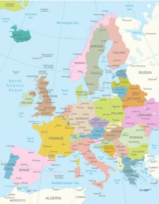 Canvastavlor Europa-mycket detaljerade map.Layers används.