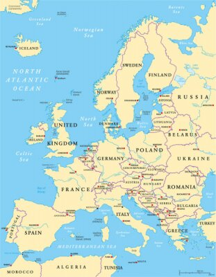 Canvastavlor Europa Political Map
