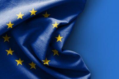 Canvastavlor Europeiska flaggan på blå bakgrund