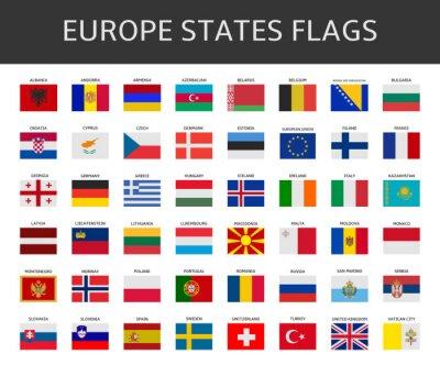 Canvastavlor europeiska flaggan påstår vektor set