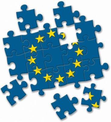 Canvastavlor Europeiska unionen EU-flaggan pussel på vit bakgrund