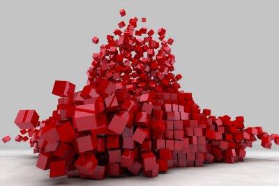 Canvastavlor Explosion av fält av röda kuber. 3d framför bilden.
