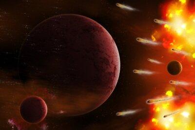 Canvastavlor Explosion av utrymme / explosion av utrymme med komet attack planet. Digital retusch.