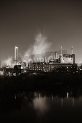 Canvastavlor Fabriken med skorsten på natten i Philadelphia.