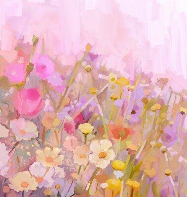 Canvastavlor Fältet blommar oljemålning, mjuka färger oskärpa stil