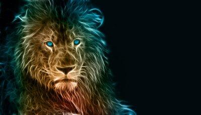 Canvastavlor Fantasi digital konst av ett lejon