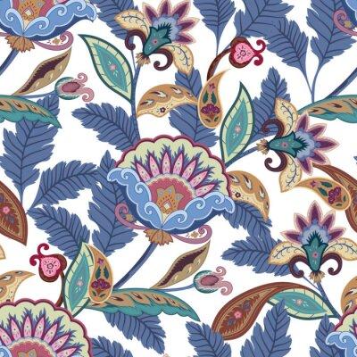 Canvastavlor Fantasiblommor seamless paisley mönster. Blom- prydnad för tyg, omslag, tapet