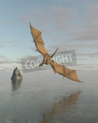 Canvastavlor Fantasiillustration av en drake flyger lågt över en lugn havet i dagsljus, 3d framförs digitalt illustration