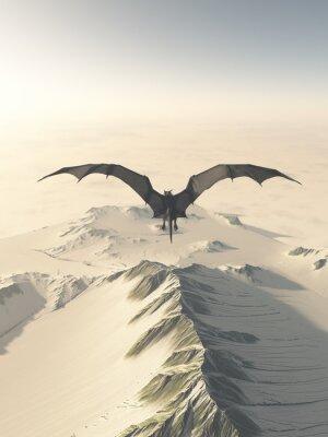 Canvastavlor Fantasiillustration av en grå drake flyger över en snötäckt bergskedja, 3d framförs digitalt illustration