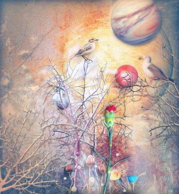 Canvastavlor Fantasilandskap med förtrollade träd, fåglar och röd nejlika