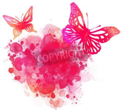 Canvastavlor Fantastisk akvarell bakgrund med fjäril. Vektorgrafik isolerad på vitt