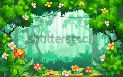 Canvastavlor Fantastisk blommeskog, fantastisk djungel, tropiker. Vektor bakgrund.