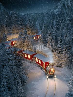 Canvastavlor Fantastiskt sött jultåg går igenom fantastisk vinterskog i norra polen. Ovanlig jul 3d illustration