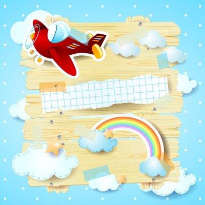 Canvastavlor Fantasy bakgrund med flygplan