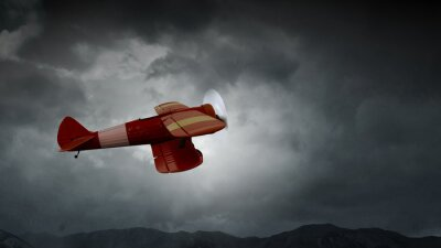 Canvastavlor Fare för flygplanskrasch. Mixad media