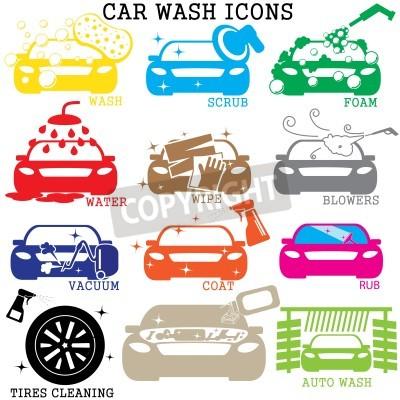 Canvastavlor färg bil tvätt ikoner på vit bakgrund