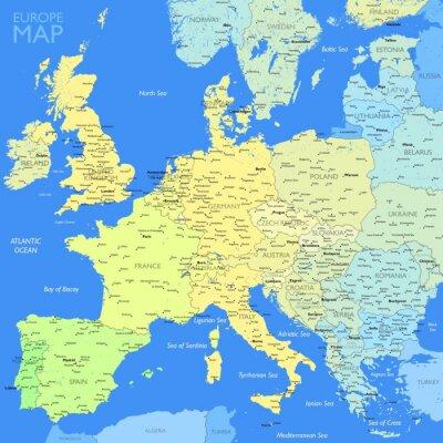 Canvastavlor Färg Europa karta