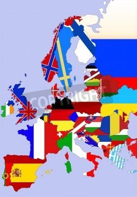 Karta Lander I Europa.Farg Illustration Av Europa Karta Med Flaggor Fran Lander