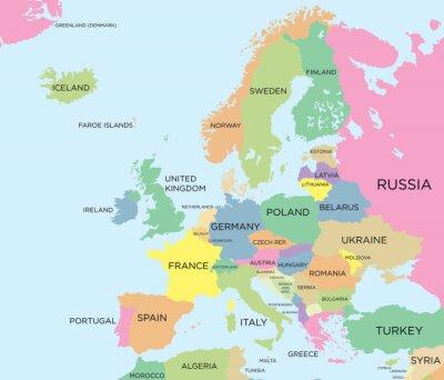 Canvastavlor Färg politiska kartan i Europa