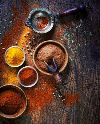 Canvastavlor Färg torkade malda kryddor