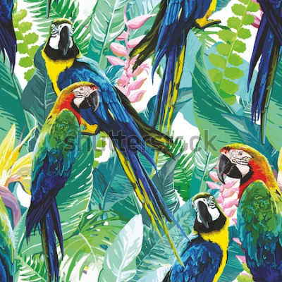 Canvastavlor färgglada papegojor och exotiska blommor