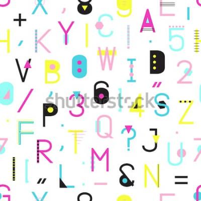 Canvastavlor Färgglada sömlösa mönster med alfabetet med nummer och skiljetecken av geometriska former som isoleras på vit bakgrund. Kreativ typografinpackningstextur i Memphis-stil. Abstrakt hipsterillustration.