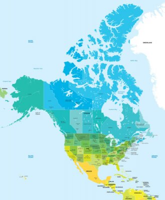 Canvastavlor Färgkarta i USA och Kanada