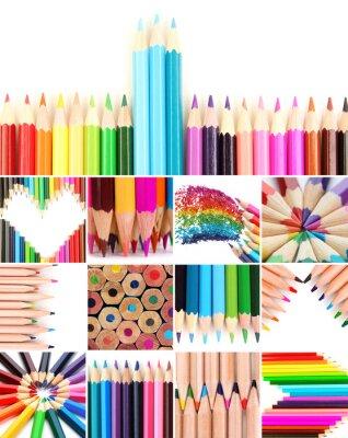 Canvastavlor Färgpennor collage