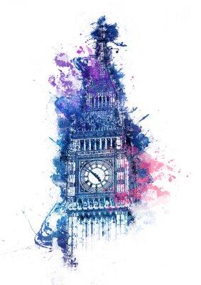Canvastavlor Färgrik akvarellmålning av Big Ben