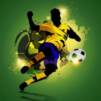 Canvastavlor Färgrik fotbollsspelare skytte