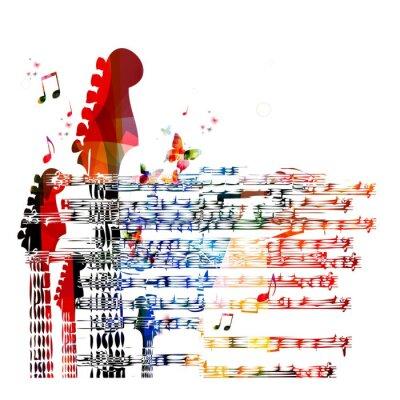 Canvastavlor Färgrik musik gitarr bakgrund. Vektor