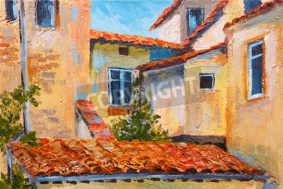 Canvastavlor färgrik oljemålning - hustak, europeiska gata, konst impressionism
