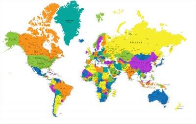 Canvastavlor Färgrik Världskarta politisk med tydligt märkta, separerade skikten. Vektor illustration.