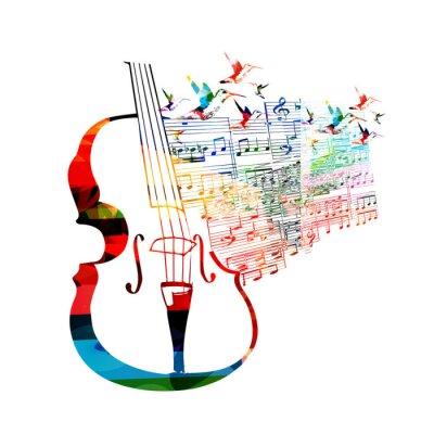 Canvastavlor Färgrik violoncello design med kolibrier
