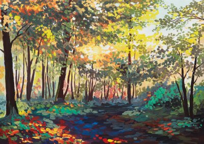 Canvastavlor färgstark skog med träd på våren vid solnedgången, oljemålning