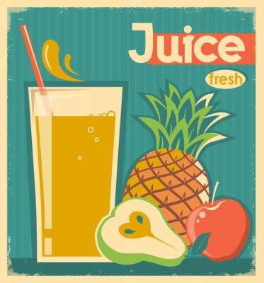 Canvastavlor färsk frukt juice.Vector tappningkort